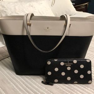 ♠️ kate spade ♠️ black and cream tote